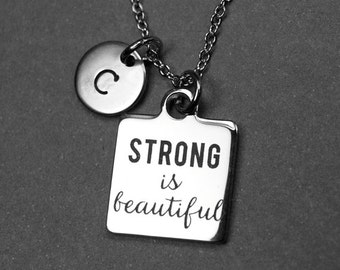Strong is beautiful Necklace, Strong is Beautiful charm, stainless steel, inspiration necklace, quote necklace, word necklace, personalized