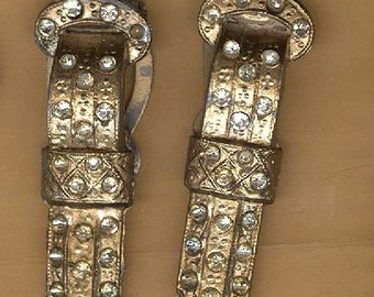 vintage art deco dress clips, one pair, long faded buckle shape dress clips patina repurpose