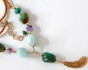 Turquoise Necklace Boho Necklace Statement Necklace As Seen On Cedar Cove Natural Gemstones Turquoise Bohemian Necklace The Artisan Group