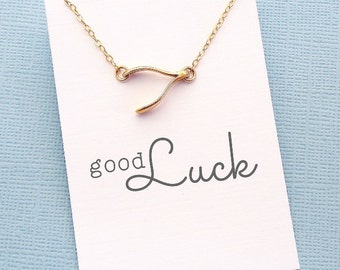 Wishbone Charm Necklace | Sideways Wishbone Necklace | Graduation Gift | Birthday Gift | Gift for Her | Good Luck | Silver or Gold | X08