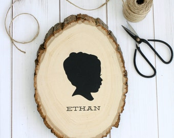 Rustic Woodcut Handpainted Silhouette  - with YOUR OWN SILHOUETTE - made from your photos - Child Silhouette