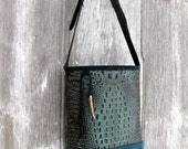 RESERVED for Heather Black and Teal Embossed Alligator Leather and Teal Hair On Cowhide Cross Body Bag by Stacy Leigh