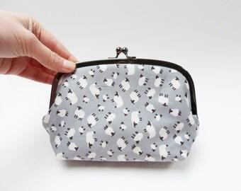 Cosmetic bag, grey sheep fabric, cotton purse