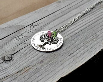 Family Tree Necklace, Birthstone Swarovski Custom | Stamped Family Necklace