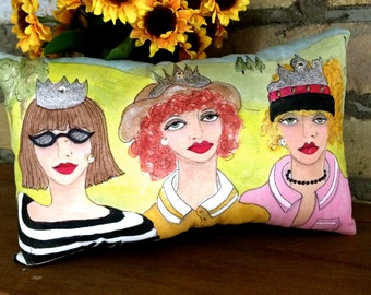 new..QUEENS of the CLUBS PILLOW, handpainted pillow, golf, golf gift, fun golf quote, 7in X 11in, mustard yellow, sage green, fun golf