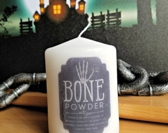 Bone Powder Apothecary Bottle Label 2x3 Pillar Candle