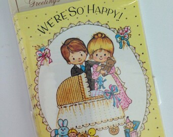 Vintage 70s 80s New In The Package Baby Announcements Cards