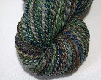 Hand Dyed Artisan Handspun Yarn, Handmade Yarn, 80/20 Merino/Black Tencel - Downward Peacock colorway