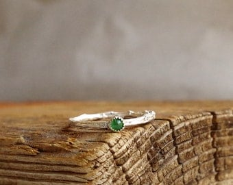 Emerald Ring Twig Skinny Ring Stacking Gemstone Ring Botanical Jewelry May Birthstone