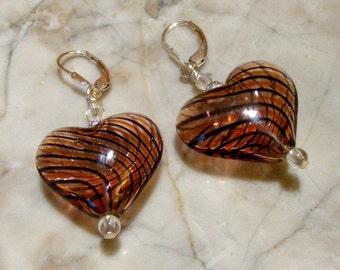 Blown Glass Red n Black Swirl Hollow HEART Bead Sterling Silver Leaverback Earrings with Swarovski Crystals Nc2224 - SRA by Lynn