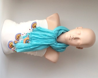 Turquoise and spring colors Cotton with Handmade Turkish OYA Spring Scarf