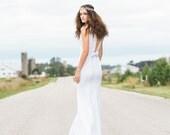 Sequins and Silk Open Back Wedding Dress with Detachable Train - Jordan