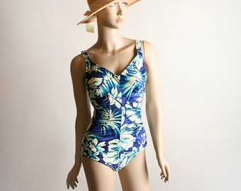 Vintage Floral Bathing Suit - 1980s Maxine of Hollywood Royal Blue Tropical Swim Suit - Small Medium