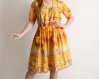 Vintage 1960s Sailboat Dress - Novelty Border Print Sunset Tropical Cotton Day Dress - Large XL