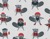 Burly Beavers Fabric, Hipster fabric, Animal fabric, Plaid fabric, Gray fabric, Robert Kaufman- Choose the cut. Free Shipping Available