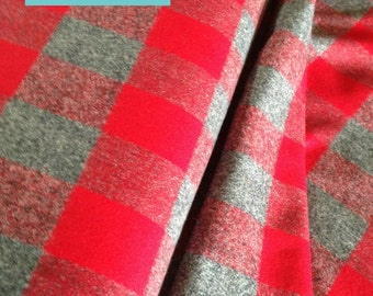 Flannel fabric, Plaid flannel, Red Gray Plaid, Red Fabric, Gray fabric, Lumberjack, Apparel fabric, by Robert Kaufman Mammoth Flannel in Red