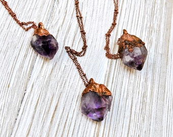 Raw Amethyst Crystal Pendant, Amethyst Crystal Point Necklace, Amethyst Layering Necklace, Amethyst Boho Necklace