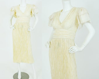 Mary McFadden 1980's Vintage Cream Fortuny Pleat Gold Trim Organza Sleeve Dress