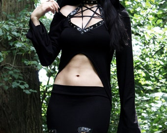 Hexenclub Pentagram Hoodie Hooded Bell sleeve crop top witchy gothic clothing alternative apparel dark style black metal witch