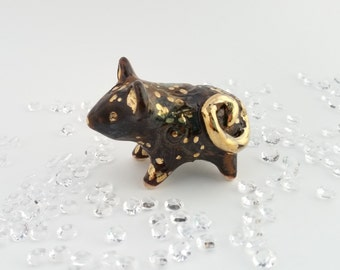Black and Gold Mouse Figurine