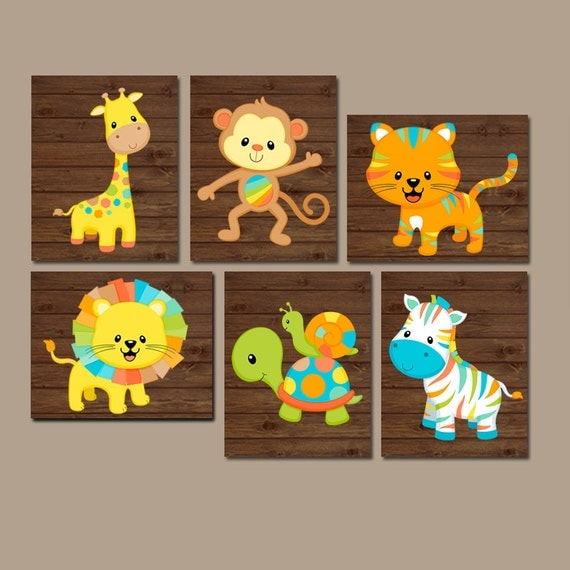 Safari Nursery Decor Jungle Theme Nursery Nursery Artwork: Safari Animals Nursery Wall Art Jungle Animals Baby Boy