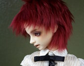 Dark Cherry Red doll wig SIZE CHOICE faux fur wig BJD high school monster american girl