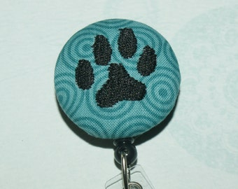 Many fabrics to design YOUR Badge Reel. Monogrammed single letter (fabric #93)