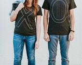 XO Tshirt set, wedding gift, his and hers t shirts, bride and groom, gift for couples, typography t shirt set, Valentines Day