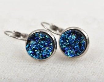 Stainless Steel Druzy Earrings, MIDNIGHT BLUE Sparkle Druzy Earrings, Bridesmaid Earrings, Faux ...