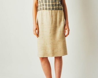 Vintage Plaid Linen Two Piece Skirt Set