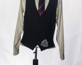 Men's Suit Vest / Vintage Navy Blue Pinstripe Waistcoat / Screen Printed Celtic Knot / Size 44 Large