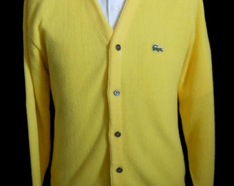 Vintage 70s 80s Grandpa Golf Cardigan, 1970s 1980s Mens Sunshine Yellow Lacoste Sweater w Alligator Logo by Izod, Size Large
