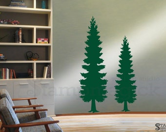 Pine Trees Wall Decal - Christmas Tree Vinyl Wall Art Sticker Home Decor - Holiday Forest Scene - K375
