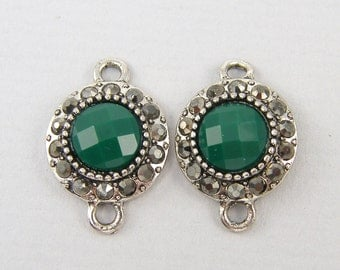 Antique Silver Connector Green Center Bead Rhinestone Accented Earring Bracelet Necklace Finding  GR7-3 2 XD