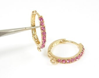 Pink Rhinestone Hoop Earring Findings Gold Plated with Loop Lever Back Leverback Jewelry Supply |P2-8|2