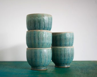 Set of 5 Turquoise Cups