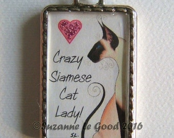 SIAMESE CAT Keyring/handbag charm with print from original painting by Suzanne Le Good