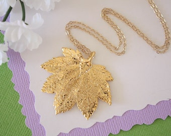 Gold Maple Leaf Necklace, Full Moon Maple, Real Gold Leaf, Real Full Moon Maple Leaf Necklace, Maple Leaf, Gold Filled, LC119