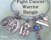 Fight Cancer Warrior Bangle, St. Peregrine Patron Saint of Cancer Patients, St. Joan of Arc, Mary Queen of Heaven Swarovski Birthstone Cross