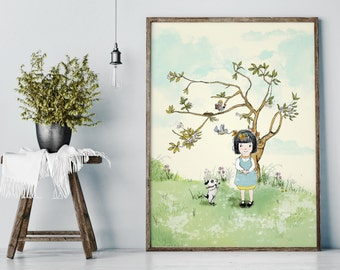 Spring, nursery wall decor girl, nursery wall art girl, girl nursery decor, nursery decor, nursery art girl, dog wall art, dog wall decor