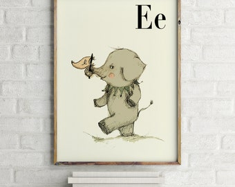 Elephant print, nursery animal print, safari nursery, alphabet letters, abc letters, alphabet print, animals prints for nursery