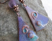 Dynamic Duo ... Enameled Copper, Lampwork and Copper Wire-Wrapped Boho, Rustic Earrings