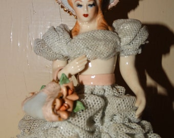 1950's Heirloom of tomorrow Victorian Lady Figurine, Dresden Lace, Gone with the Wind, Circa 1950's, Manhattan Beach California