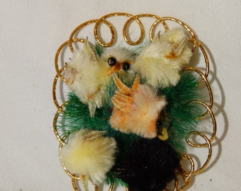 Rare Vintage Chenille Easter Chick Decoration, Circa 1960's Easter Ornament, Easter Basket Decoration, Easter Peeps
