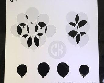 """Cookie Stencil - Balloons, 2 part stencil - 6""""x6"""""""