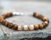 Peach Moonstone Gemstone and Marbled Aloeswood Beaded Handmade Bracelet, Genuine Wood Bracelet