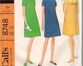 1967 McCalls 8748 Adorable A-Line Dress Sewing Pattern Vintage Size 14 Mod Mini