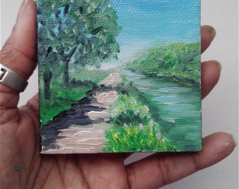 "Mini Oil Painting Landscape Pathway by River Trees 3""x 3"" READY to SHIP"