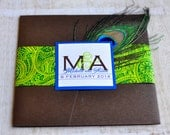 Pocket Fold Wedding Invitation Design Fee (Green and Royal Blue Peacock Feather Design)