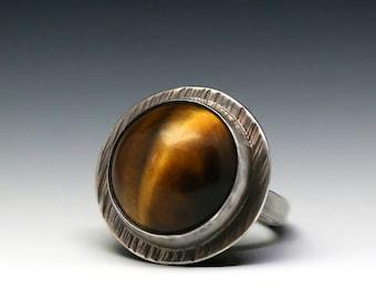 tiger eye ring, round tiger eye ring, silver tiger eye ring, unisex ring, boho ring, boho lux ring, statement ring, eye of the tiger, bold